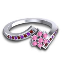 Pink Tourmaline Simple Floral Pave Utpala Ring with Garnet and Amethyst in Platinum