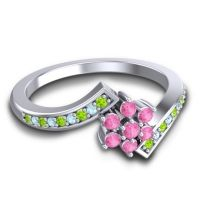 Simple Floral Pave Utpala Pink Tourmaline Ring with Peridot and Aquamarine in 14k White Gold