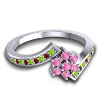 Simple Floral Pave Utpala Pink Tourmaline Ring with Peridot and Garnet in Palladium