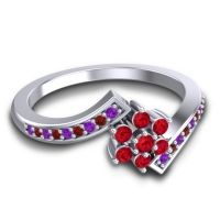 Simple Floral Pave Utpala Ruby Ring with Amethyst and Garnet in 14k White Gold