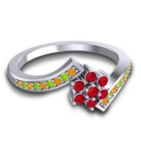 Simple Floral Pave Utpala Ruby Ring with Citrine and Peridot in Palladium
