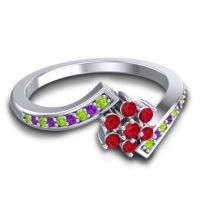 Simple Floral Pave Utpala Ruby Ring with Peridot and Amethyst in 14k White Gold