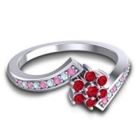Simple Floral Pave Utpala Ruby Ring with Pink Tourmaline and Aquamarine in 18k White Gold