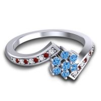 Simple Floral Pave Utpala Swiss Blue Topaz Ring with Diamond and Garnet in Palladium