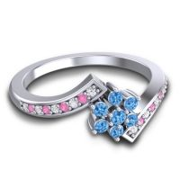 Simple Floral Pave Utpala Swiss Blue Topaz Ring with Diamond and Pink Tourmaline in Palladium