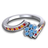 Simple Floral Pave Utpala Swiss Blue Topaz Ring with Ruby and Citrine in 14k White Gold