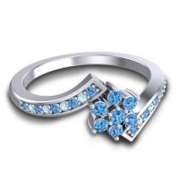 Simple Floral Pave Utpala Swiss Blue Topaz Ring with Aquamarine in 18k White Gold