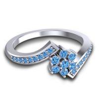 Simple Floral Pave Utpala Swiss Blue Topaz Ring in Palladium