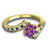 Simple Floral Pave Utpala Amethyst Ring with Aquamarine and Blue Sapphire in 14k Yellow Gold