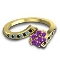 Simple Floral Pave Utpala Amethyst Ring with Black Onyx and Swiss Blue Topaz in 18k Yellow Gold