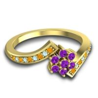 Simple Floral Pave Utpala Amethyst Ring with Citrine and Aquamarine in 14k Yellow Gold