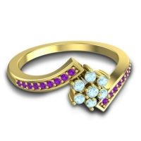 Simple Floral Pave Utpala Aquamarine Ring with Amethyst in 14k Yellow Gold