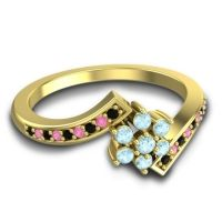 Simple Floral Pave Utpala Aquamarine Ring with Black Onyx and Pink Tourmaline in 14k Yellow Gold