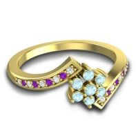 Simple Floral Pave Utpala Aquamarine Ring with Diamond and Amethyst in 18k Yellow Gold