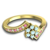 Simple Floral Pave Utpala Aquamarine Ring with Pink Tourmaline and Diamond in 18k Yellow Gold