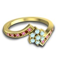 Simple Floral Pave Utpala Aquamarine Ring with Pink Tourmaline and Garnet in 14k Yellow Gold
