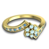 Simple Floral Pave Utpala Aquamarine Ring with Swiss Blue Topaz and Diamond in 14k Yellow Gold