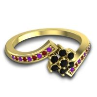 Simple Floral Pave Utpala Black Onyx Ring with Amethyst and Garnet in 18k Yellow Gold