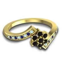 Simple Floral Pave Utpala Black Onyx Ring with Aquamarine and Blue Sapphire in 14k Yellow Gold