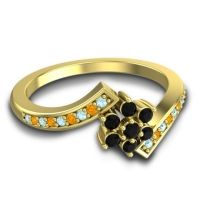 Simple Floral Pave Utpala Black Onyx Ring with Aquamarine and Citrine in 18k Yellow Gold