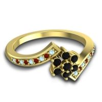 Simple Floral Pave Utpala Black Onyx Ring with Aquamarine and Garnet in 14k Yellow Gold