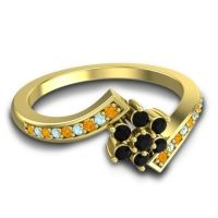 Simple Floral Pave Utpala Black Onyx Ring with Citrine and Aquamarine in 18k Yellow Gold
