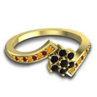 Simple Floral Pave Utpala Black Onyx Ring with Citrine and Garnet in 14k Yellow Gold