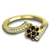 Simple Floral Pave Utpala Black Onyx Ring with Diamond in 14k Yellow Gold