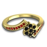 Simple Floral Pave Utpala Black Onyx Ring with Garnet and Ruby in 18k Yellow Gold