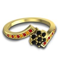 Simple Floral Pave Utpala Black Onyx Ring with Ruby and Citrine in 18k Yellow Gold