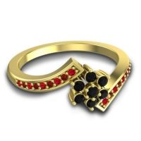 Simple Floral Pave Utpala Black Onyx Ring with Ruby and Garnet in 18k Yellow Gold