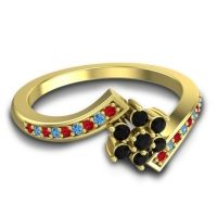 Simple Floral Pave Utpala Black Onyx Ring with Ruby and Swiss Blue Topaz in 18k Yellow Gold