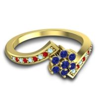 Simple Floral Pave Utpala Blue Sapphire Ring with Aquamarine and Ruby in 18k Yellow Gold