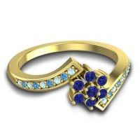 Simple Floral Pave Utpala Blue Sapphire Ring with Aquamarine and Swiss Blue Topaz in 18k Yellow Gold