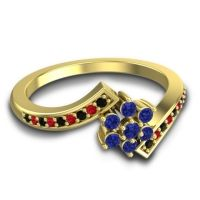 Simple Floral Pave Utpala Blue Sapphire Ring with Black Onyx and Ruby in 14k Yellow Gold