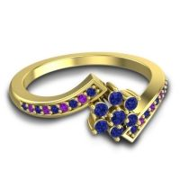 Simple Floral Pave Utpala Blue Sapphire Ring with Amethyst in 14k Yellow Gold