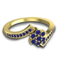 Simple Floral Pave Utpala Blue Sapphire Ring in 14k Yellow Gold