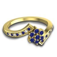 Simple Floral Pave Utpala Blue Sapphire Ring with Diamond in 18k Yellow Gold