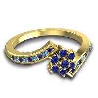 Simple Floral Pave Utpala Blue Sapphire Ring with Swiss Blue Topaz in 18k Yellow Gold