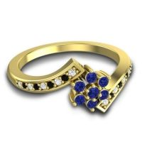Simple Floral Pave Utpala Blue Sapphire Ring with Diamond and Black Onyx in 14k Yellow Gold