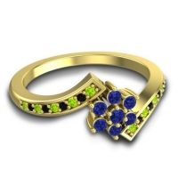 Simple Floral Pave Utpala Blue Sapphire Ring with Peridot and Black Onyx in 18k Yellow Gold