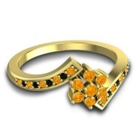 Simple Floral Pave Utpala Citrine Ring with Black Onyx in 14k Yellow Gold
