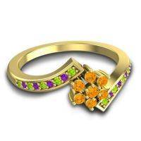 Simple Floral Pave Utpala Citrine Ring with Peridot and Amethyst in 18k Yellow Gold