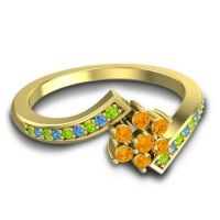 Simple Floral Pave Utpala Citrine Ring with Peridot and Swiss Blue Topaz in 14k Yellow Gold