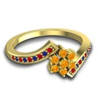 Simple Floral Pave Utpala Citrine Ring with Ruby and Blue Sapphire in 18k Yellow Gold