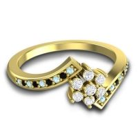 Diamond Simple Floral Pave Utpala Ring with Aquamarine and Black Onyx in 18k Yellow Gold