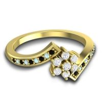 Simple Floral Pave Utpala Diamond Ring with Black Onyx and Aquamarine in 18k Yellow Gold