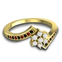 Simple Floral Pave Utpala Diamond Ring with Black Onyx and Garnet in 18k Yellow Gold
