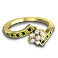 Simple Floral Pave Utpala Diamond Ring with Black Onyx and Peridot in 14k Yellow Gold