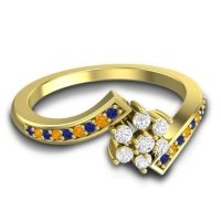 Simple Floral Pave Utpala Diamond Ring with Blue Sapphire and Citrine in 14k Yellow Gold